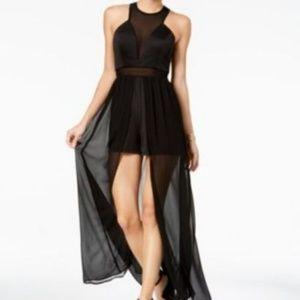 As U Wish Juniors Mesh Maxi-Overlay Romo Dress S